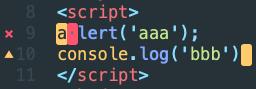SublimeLinter javascriptのエラー表示(スクリーンショット画像)